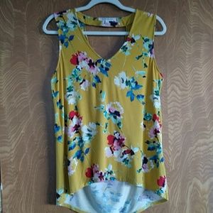 Rose and Olive Draped Back Sleeveless Top Size M